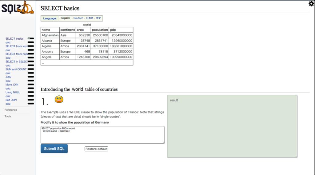 SQLZOOの画面