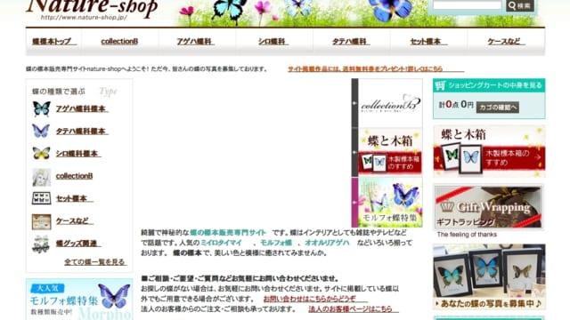 蝶の標本販売「ネイチャーショップ Nature-Shop」