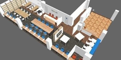 施設全体図(約60坪)です。右側がイベントスペースとなります。